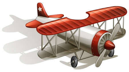 vintage airplane: Illustration of a vintage bumpy ride on a white background