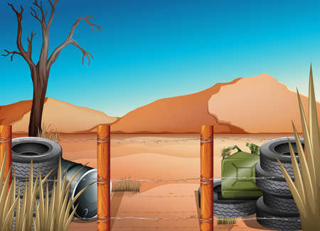 barbwire: Illustration of a desert with tires and a barbwire fence
