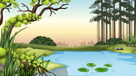 weeds: Illustration of a pond at the jungle