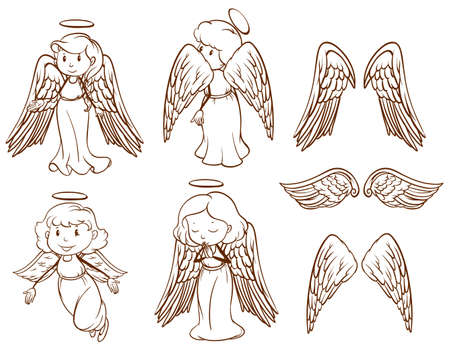 children of heaven: Illustration of the simple sketches of angels and their wings on a white background