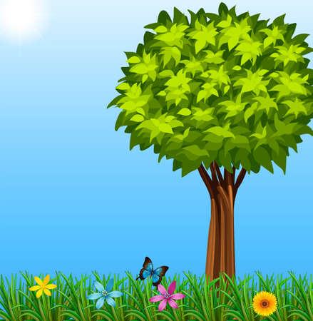 Ilustración de un árbol en el jardín