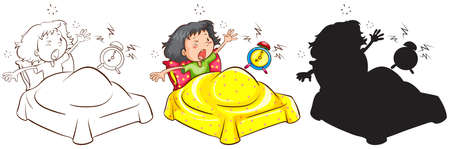 tardiness: Illustration of the sketches of a late child in different colours on a white background  Illustration