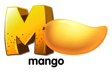 Illustration of a letter M for mango on a white background  Vector