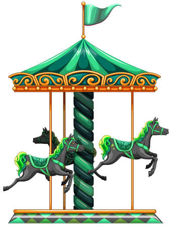 carrousel: Illustration of a green carrousel ride on a white background  Illustration