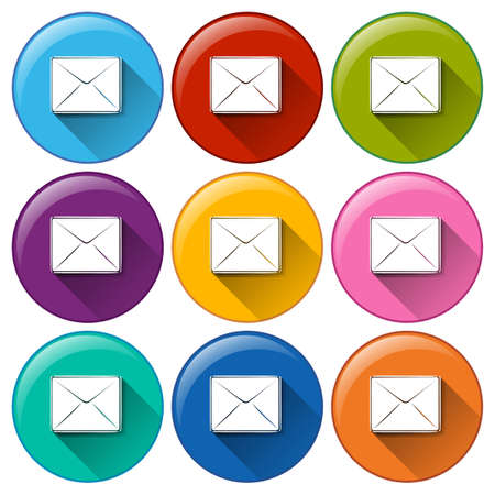 Illustration of the round buttons with envelopes on a white background