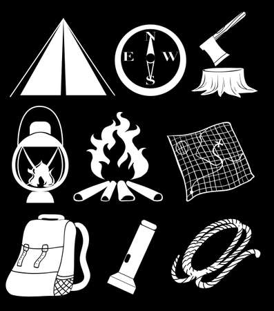 overnight: Illustration of the camping materials on a black background
