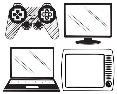 electronic background: Illustration of the electronic devices on a white background