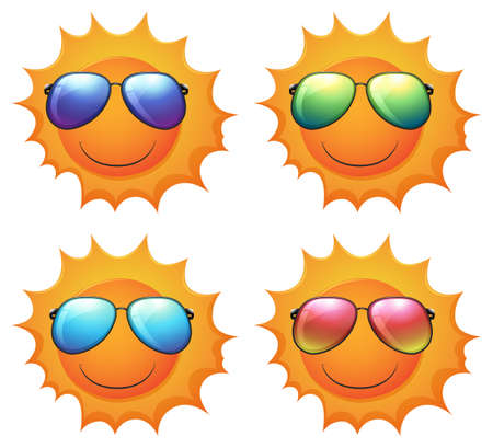 Illustration of the sun with shades on a white background   Vector