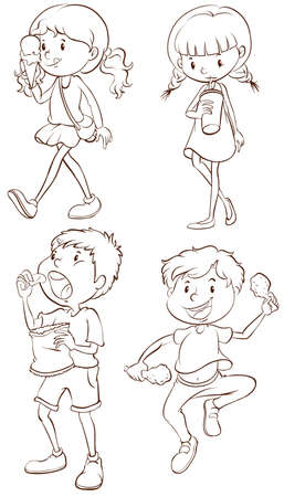 illustration of the simple sketches of kids taking their snacks on a white background stock vector