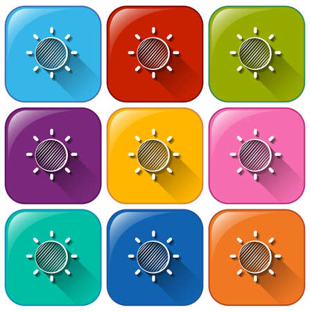 atmospheric phenomena: Illustration of the rounded buttons with a Sun on a white background