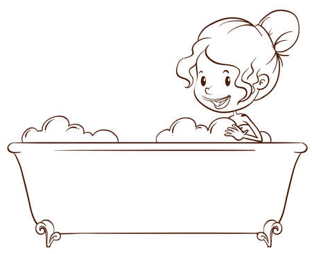 bathtub: Illustration of a simple sketch of a girl at the bathtub on a white background