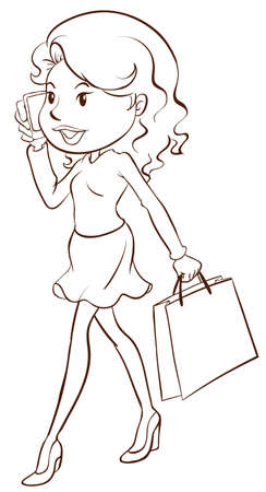 woman on phone: Illustration of a simple sketch of a girl shopping on a white background   Illustration
