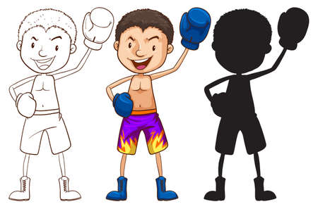 brave of sport: Illustration of the sketches of a boxer in different colors ton a white background