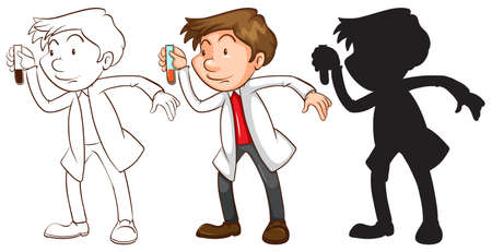 assays: Illustration of the different sketches of a chemist on a white background   Illustration