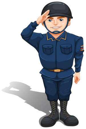 Illustration of a happy soldier on a white background   Vector