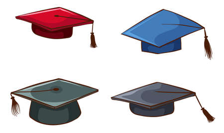 isolated: Illustration of the simple sketches of graduation caps on a white background