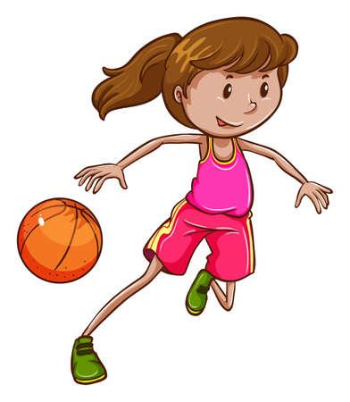 baloncesto chica: Ilustración de un simple boceto coloreado de una pelota de baloncesto niña jugando en un fondo blanco