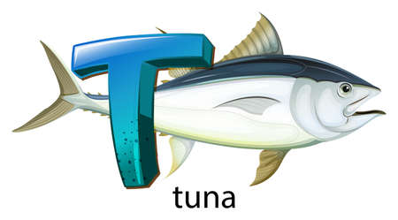 labelling: Illustration of a letter T for tuna on a white background