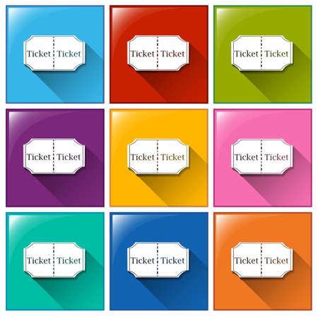 Illustration of the buttons with tickets on a white background  Vector