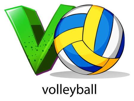 capitalized: Illustration of  a letter V for volleyball on a white background  Illustration