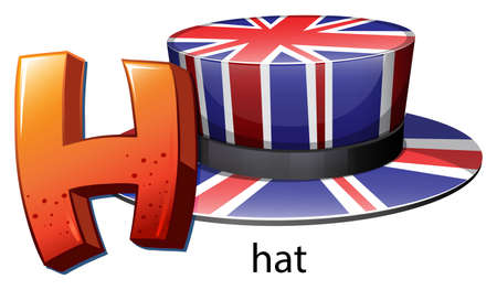 capitalized: Illustration of a letter H for hat on a white background