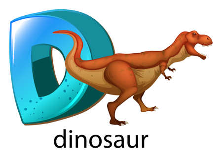 labelling: Illustration of a letter D for dinosaur on a white background