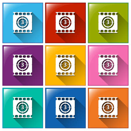 Illustration of the buttons with movie countdown on a white background  Vector