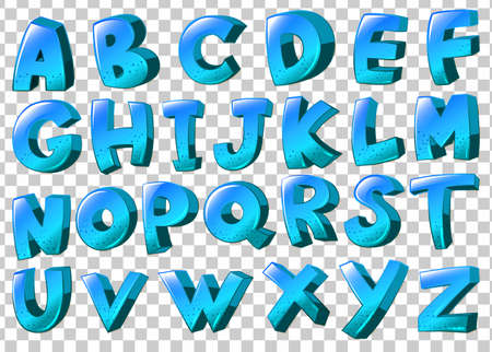 Illustration of the letters of the alphabet in blue colors on a white background
