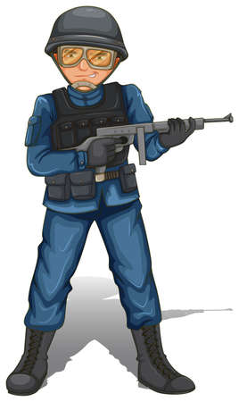 Illustration of a soldier with a gun on a white background  Vector