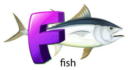 ectothermic: Illustration of a letter F for fish on a white background  Illustration