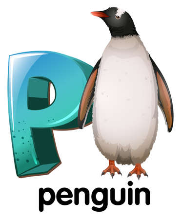 temperate: Illustration of a letter P for penguin on a white background