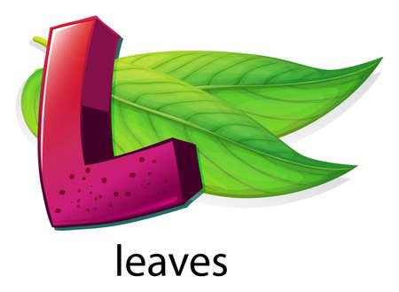 hojas parra: Ilustración de una letra L de hojas sobre un fondo blanco