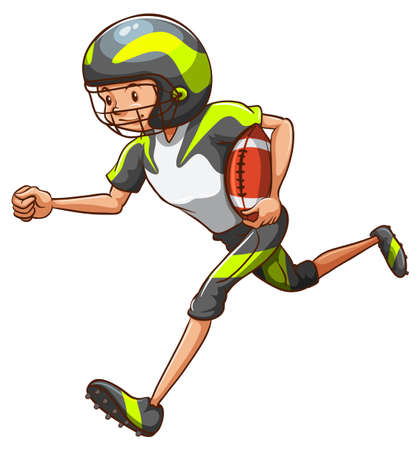 american football player: Illustration of a football player running