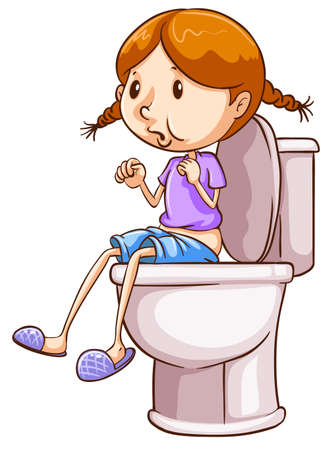 Illustration of a girl using a toilet