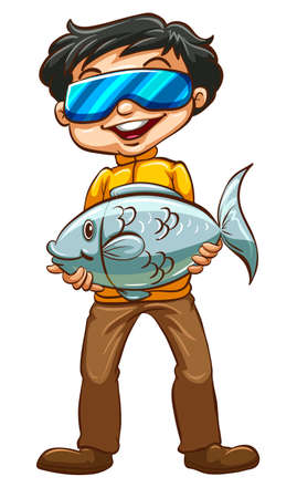 freetime: Illustration of a man holding a fish