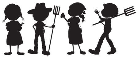 peasant woman: Illustration of a set of silhouette farmers Illustration