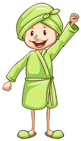 showering: Illustration of a child preparing for bath Illustration