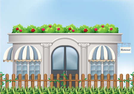 outdoor dining: Illustration of a fancy restaurant Illustration