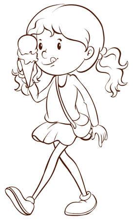 Illustration of a girl eating icecream Vector