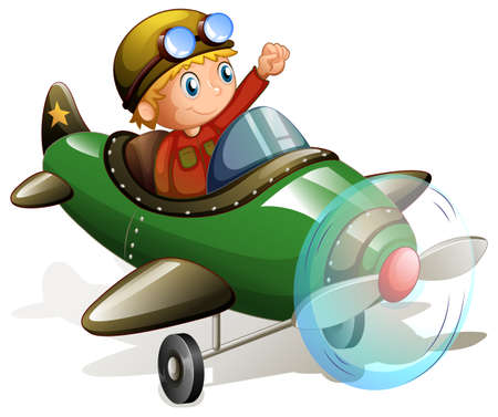 controling: Illustration of a pilot flying an airplane