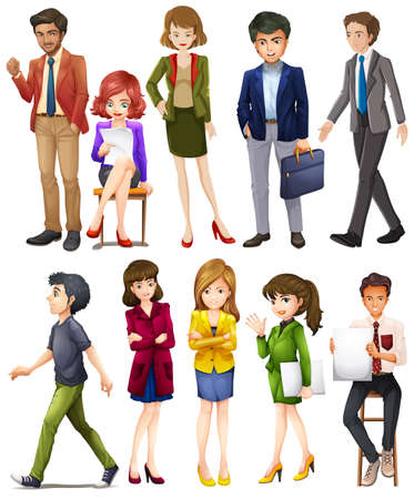 Illustration of different poses of businessmen Vector