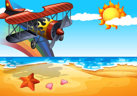 breeze: Illustration of an airplane over the beach