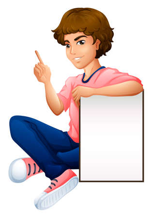 educated: Illustration of a boy with an empty whiteboard on a white background   Illustration