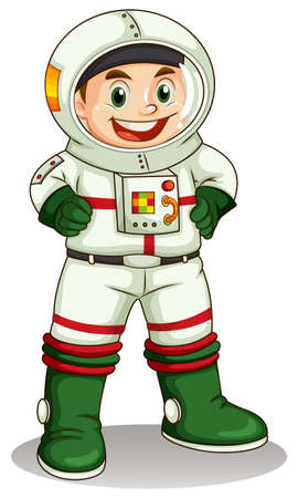Illustration of a happy astronaut on a white background   Vector