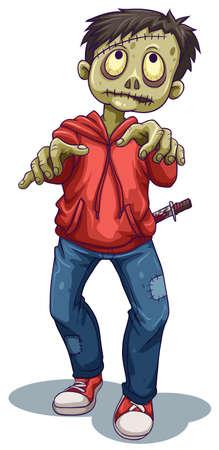 stabbed: Ilustraci�n de un zombie masculina sobre un fondo blanco Vectores