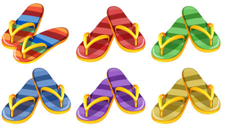 Illustration of the six pairs of slippers on a white background Vector