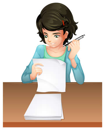 white background: Illustration of a woman answering the testpapers on a white background