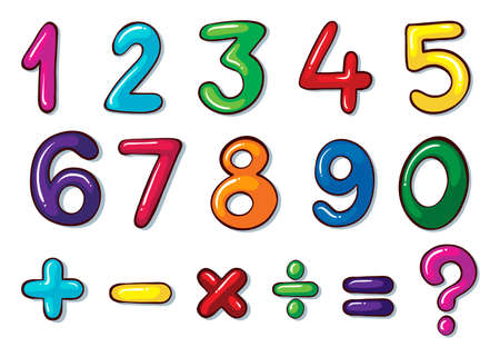 five background: Illustration of the colourful numbers and mathematical operations on a white background   Illustration