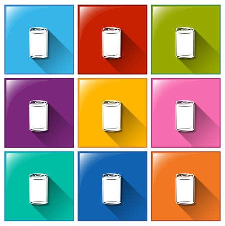 soda pop: Illustration of the buttons with canned drinks on a white background