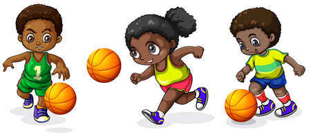 dark complexion: Illustration of the kids playing basketball on a white background   Illustration